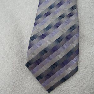 John Ashford Tie 100% Silk Check Stripe Necktie
